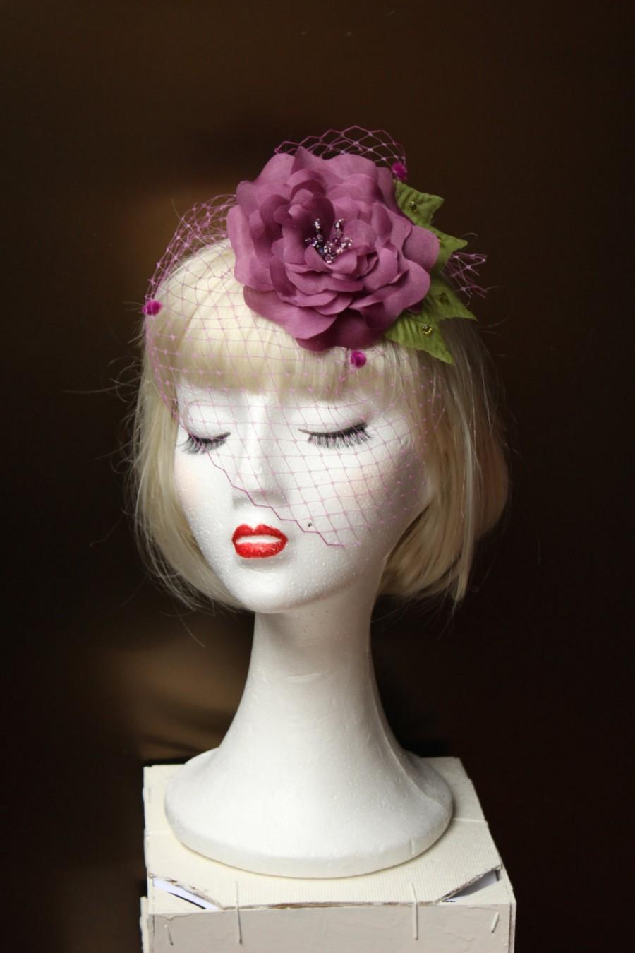 Hochzeit - fascinator purple flower, comb guest, flower headpiece, birdcage veil, flower hairclip, handmade headpiece,wedding hair flower,hair comb