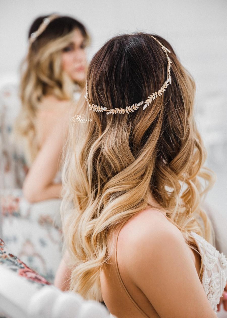 Wedding - Bridal Halo, Bridal Hair Vine, Boho Wedding, Wedding Headpiece, Bohemian Headpiece, Bridal Headband Wedding Headband Gold- MILA