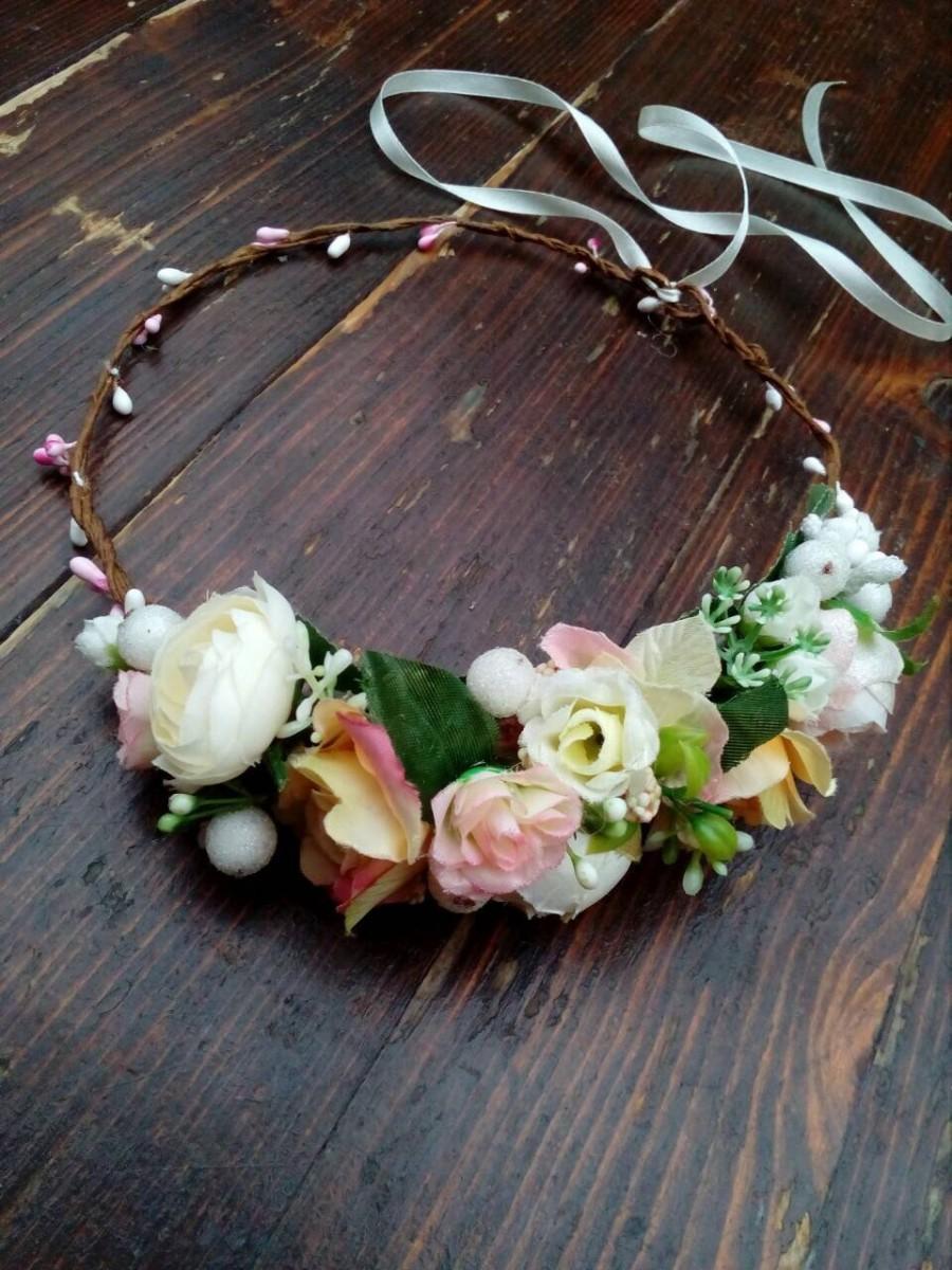Wedding - Ready to ship!  White or blush pink flower crown, Side Flower crown, wedding flower crown, bridal crown, bohemian crown