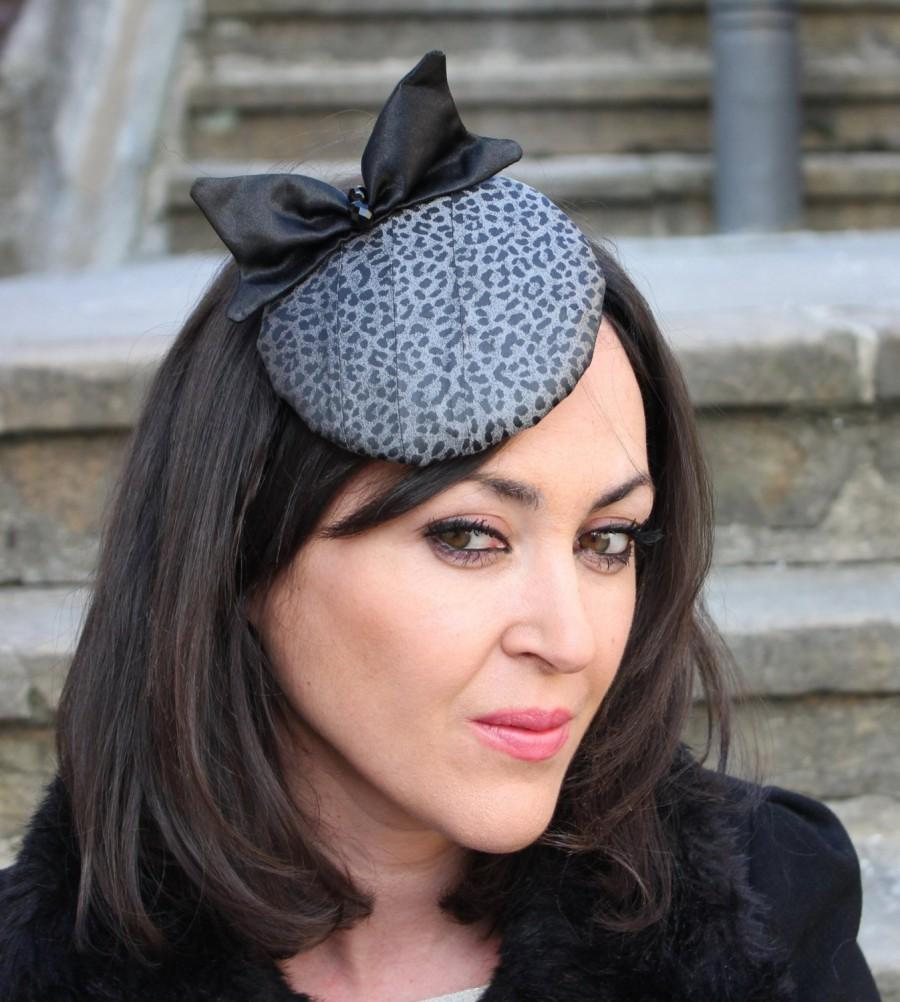 Mariage - leopard mini hat, bow black hat, mini hat, round bow hat