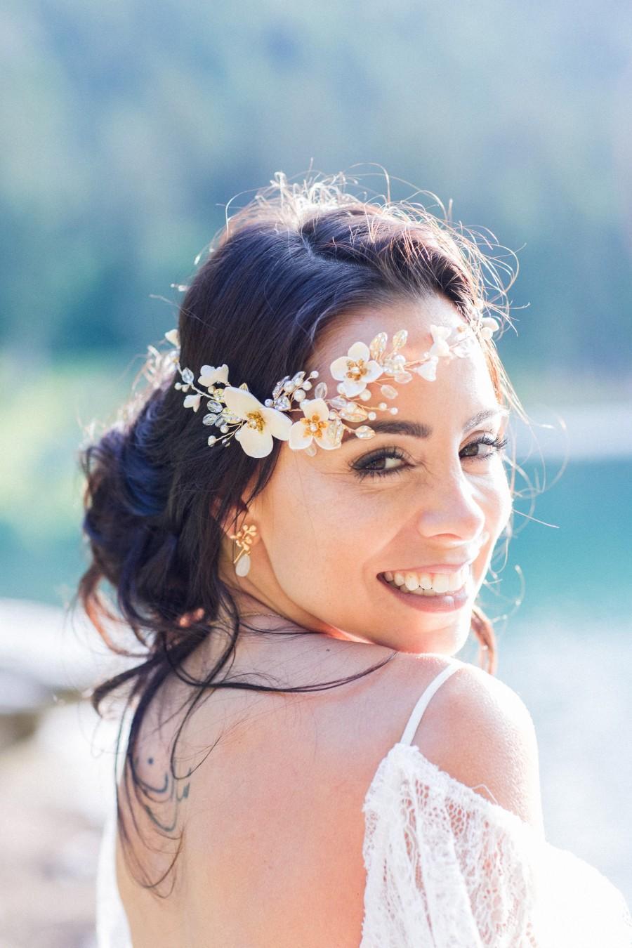 زفاف - Bridal Hair Piece, Flower Bridal Headband, Wedding Hair Vine, Bridal Tiara, Wedding Hair Wreath, Wedding Headpiece, Flower Tiara Gold-REGINA