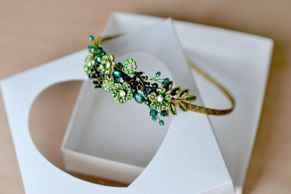 Hochzeit - Emerald crown Green flower headband Emerald tiara Holiday crown green crystal head piece Emerald flower tiara Christmas gift ready ship