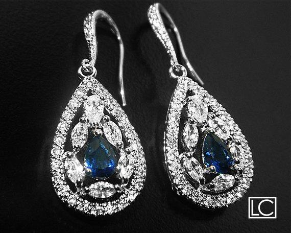 Hochzeit - Bridal Crystal Earrings, Wedding Cubic Zirconia Earrings, Clear Navy Blue Teardrop Earrings, Bridal Jewelry, Chandelier Dangle Earrings