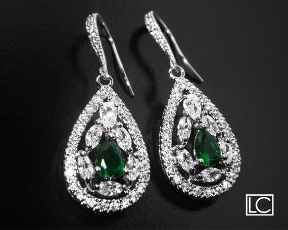 Hochzeit - Crystal Bridal Earrings, Cubic Zirconia Wedding Earrings, Teardrop Sparkly Earrings, Clear Emerald CZ Chandelier Earrings, Bridal Jewelry