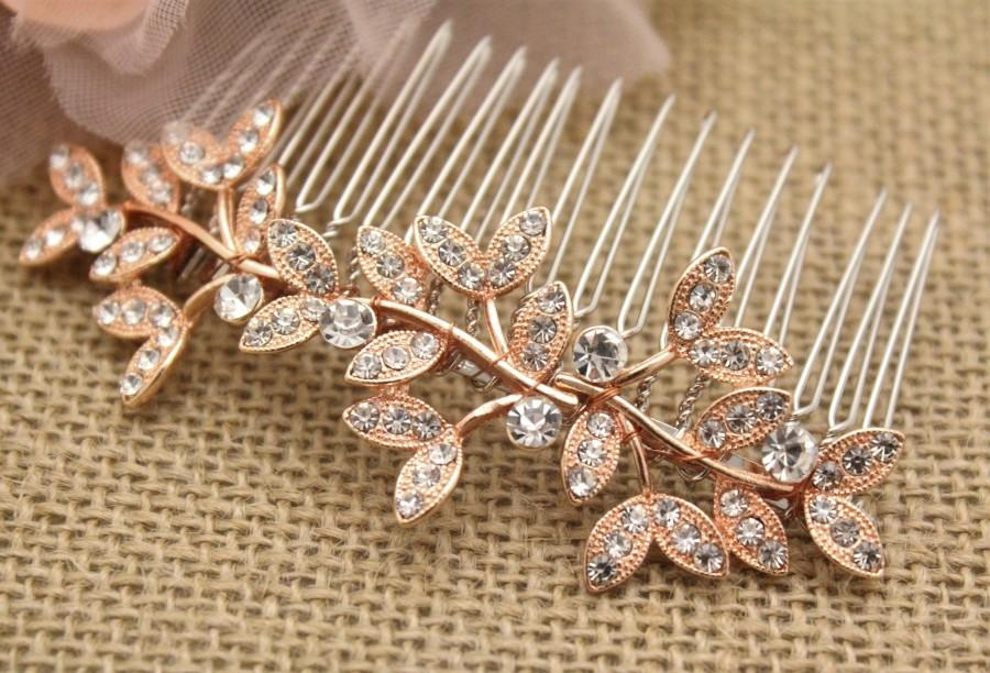 Mariage - Rose gold Wedding hair comb Crystal hair piece Rose gold hair pin Bridal hair comb Rhinestone hair piece Boho bridal headpiece Bridesmaid