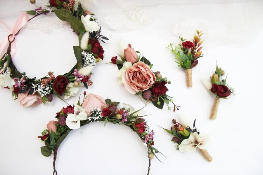 Mariage - Dusty Rose Wedding accessories set, circlet flower crown, half floral head wreath, rustic boutonniere, bridal hair comb bridesmaid headpiece