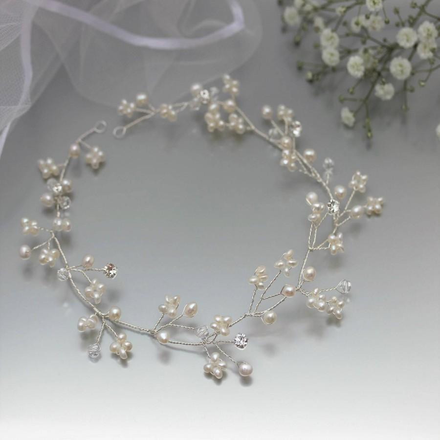 Mariage - Gypsophila Hair Vine, Delicate Silver Gold or Rose Gold Hair Vine, Pearl Wedding Hair Vine, Pearl Baby's Breath Hair Wreath, Winter Bridal