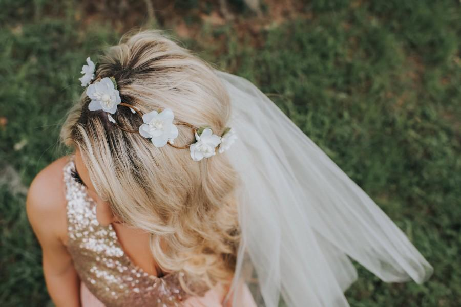 Mariage - Flower Crown Veil - Boho Flower Crown Veil - Braided Flower Crown Veil - Bachelorette Flower Crown - Bachelorette Party