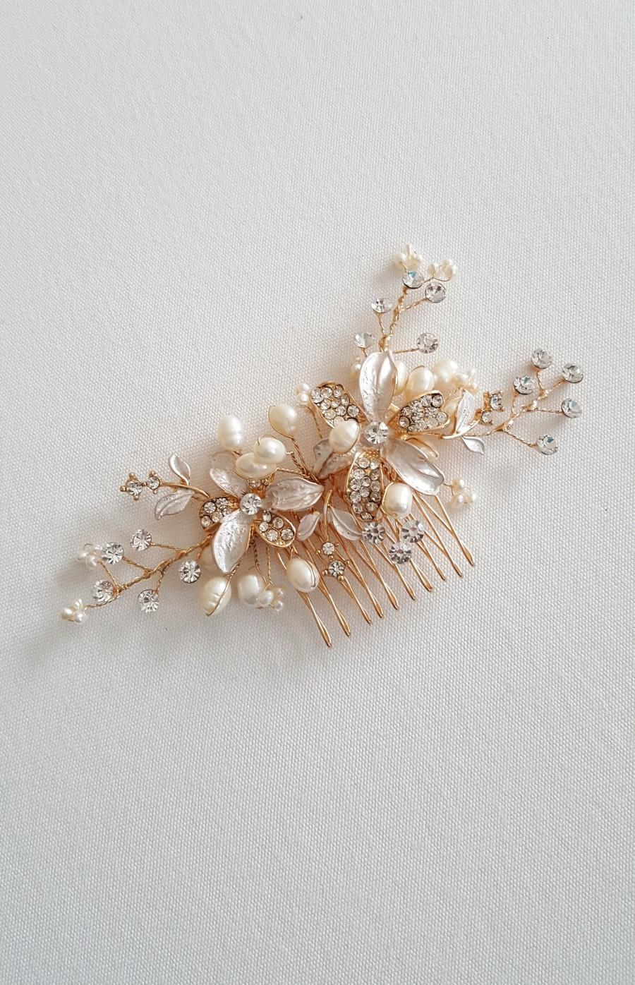 Wedding - Wedding Hair Comb, Pearl Wedding Headpiece, Crystal Pearl Bridal Comb, Gold Bridal Headpiece, Rose Gold Pearl Bridal Comb