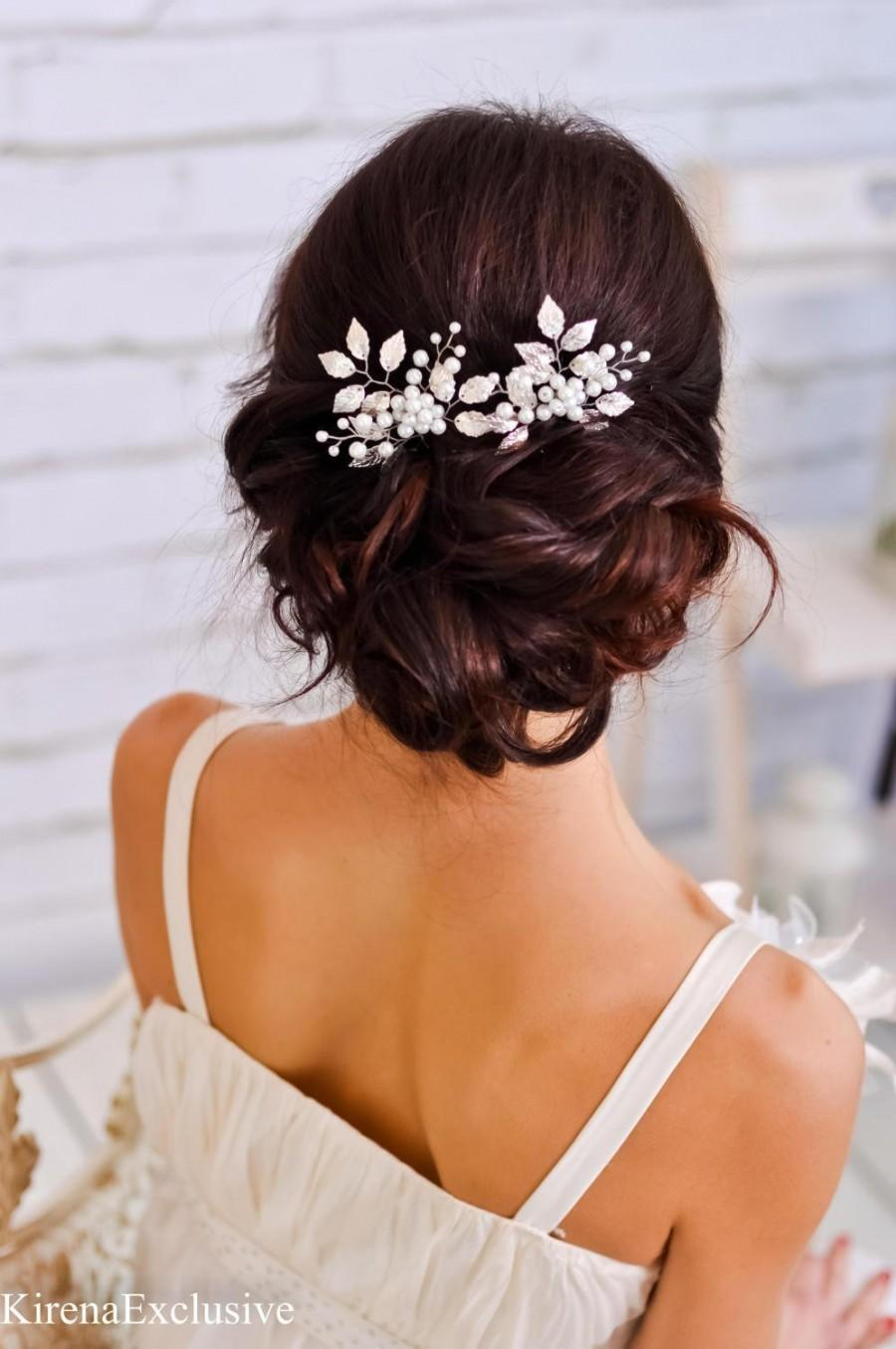 Wedding - Silver leaf hair comb Wedding hair clip Wedding hair accessory wedding hair piece Leaves bridal hair piece Bridal hair pin Bridal hair comb