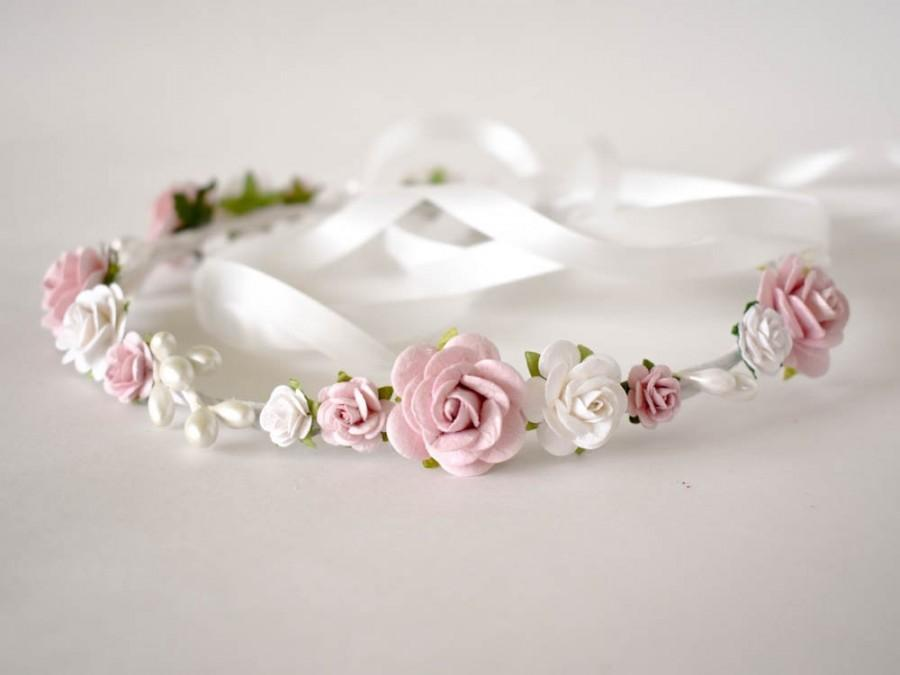 Mariage - Dusty Rose flower crown. Rose pink and white flower crown. Rose floral crown. Wedding headpiece. Flower girl headband. Bridal flower crown.