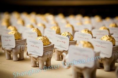 Mariage - Beter Gifts®创意婚礼小物印度幸运大象烛台回礼婚礼宴会席位卡夹喜糖盒SZ040