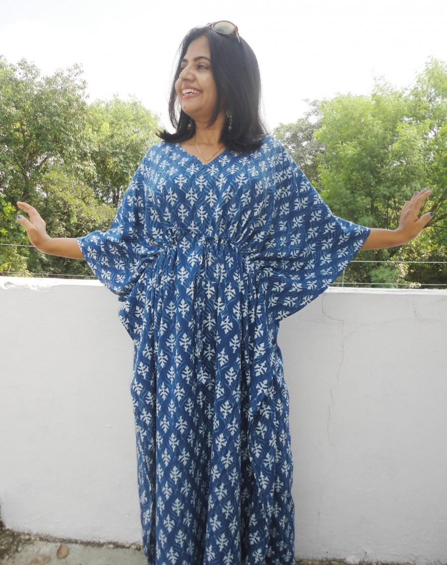 Свадьба - Summer Cotton Kaftan, Blue beach cover loungewear, Indigo Block print Resort wear, Indian blockprint caftan, Moroccan kaftan,Loose Kimono