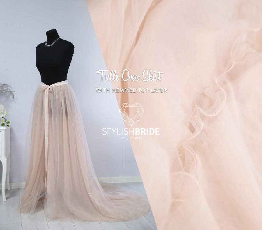 Hochzeit - Hemmed Tulle Overskirt 150 colors, Tie bow closure, Wedding Tulle Over Skirt on dress
