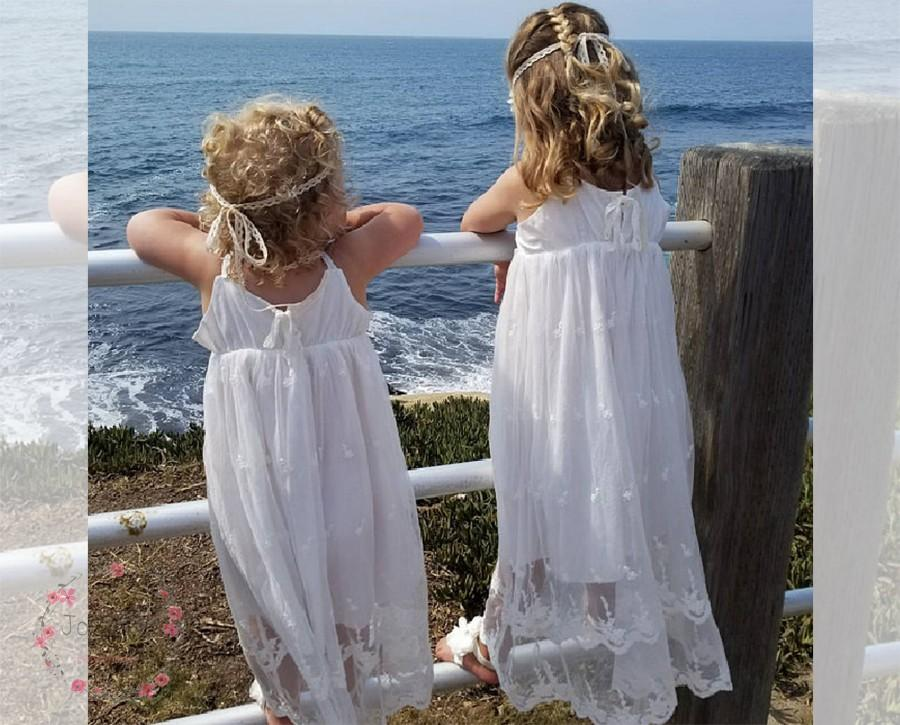 زفاف - Boho girl dress,girl dress,sleeveless maxi girl dress,Embroidered Lace, boho wedding, birthday parties girl dress off-white Ivory white