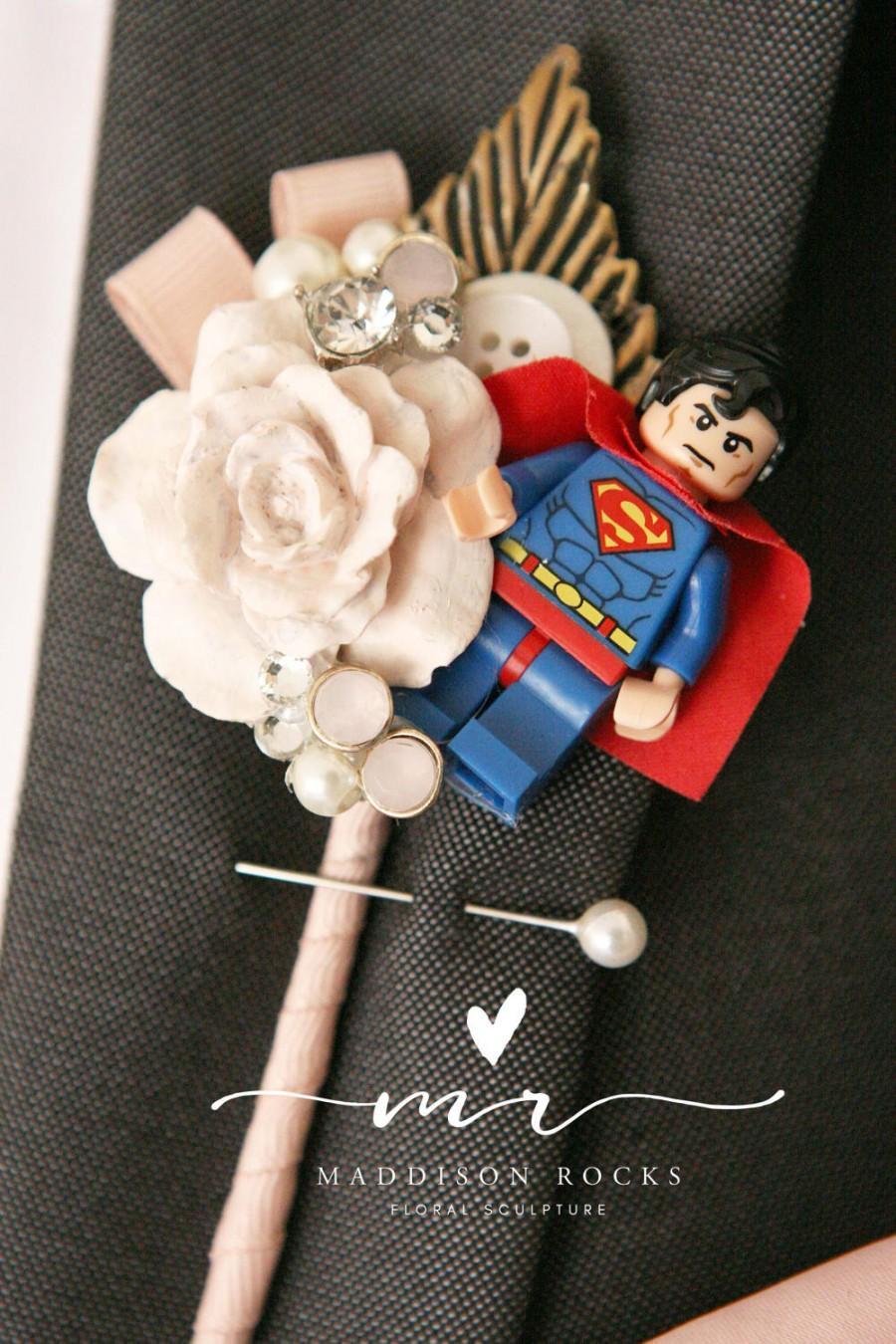 Hochzeit - Custom Superhero, Minature figure Boutonnieres, Geek, Buttonholes, Wedding boutonnière, alternative, comics, buttonhole, wedding corsage