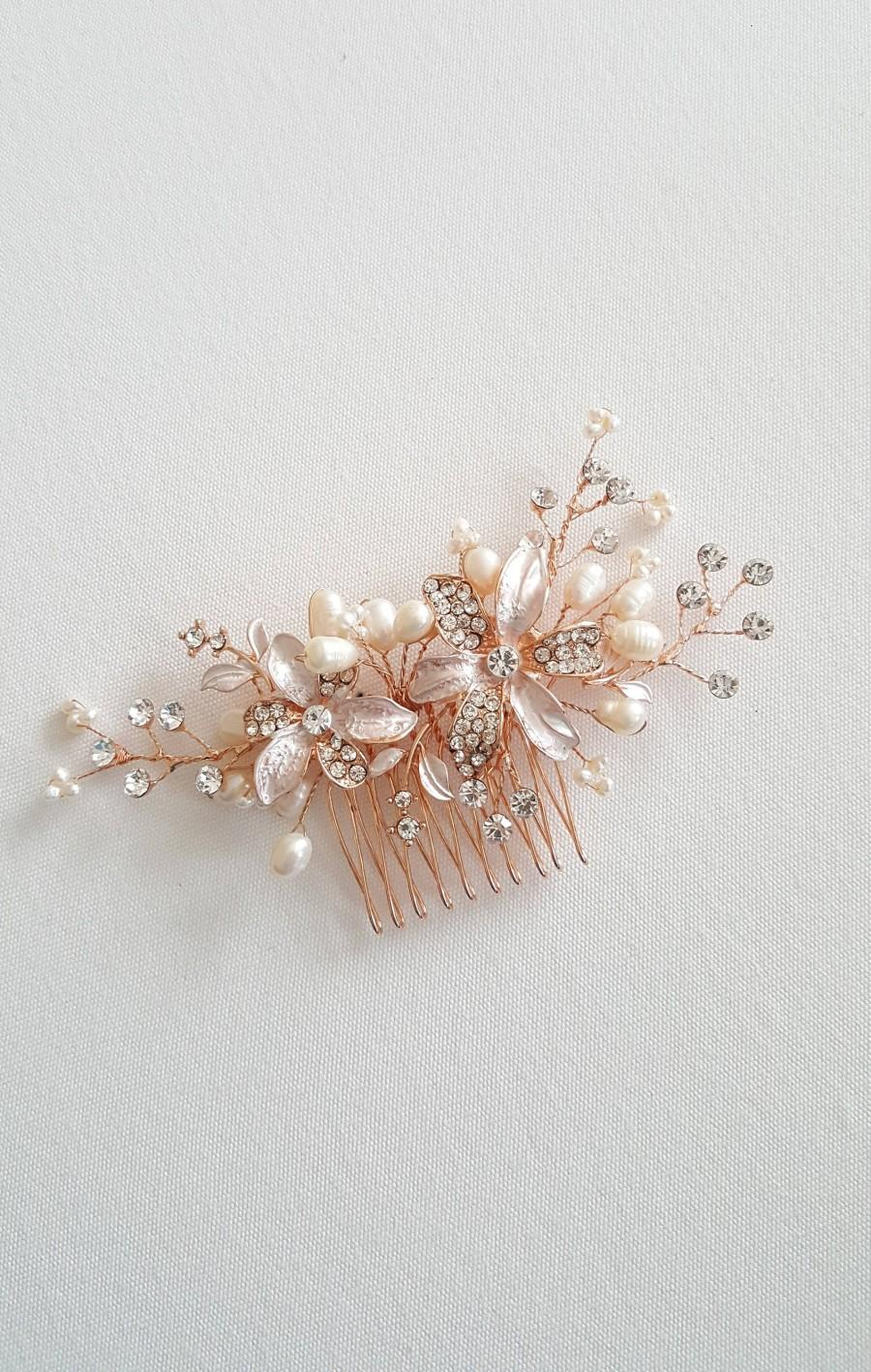 Mariage - Rose Gold Wedding Hair Comb, Pearl Wedding Headpiece, Crystal Pearl Bridal Comb, Gold Bridal Headpiece, Rose Gold Pearl Bridal Comb