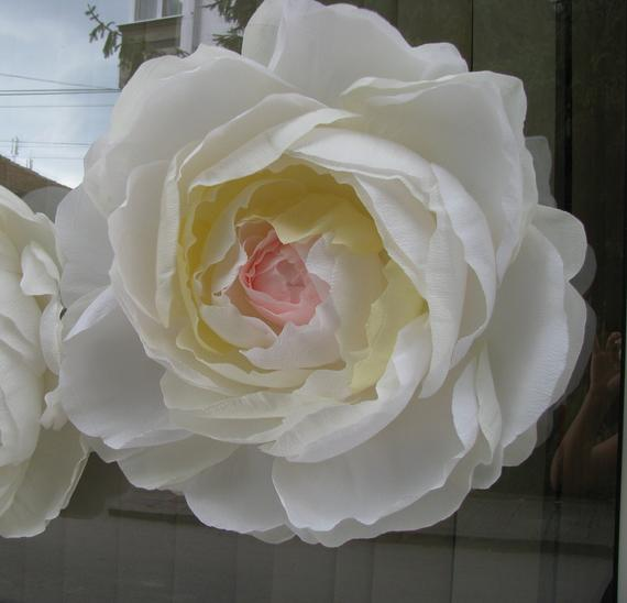 White Paper Flower 22 Inches Giant Peony Christmas Shop Display Wall