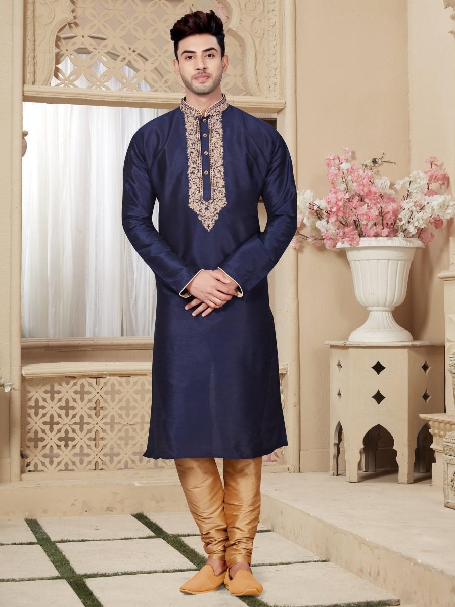 Wedding - Traditional Fancy Navy Blue Man's plus size kurta pajama, Embroidery Work, Anniversary, party Kurta, wedding kurta pajama