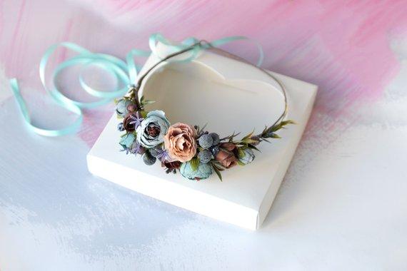 Mariage - Blue floral crown Wedding flower crown Blue brown hair wreath Bridal floral crown Maternity flower halo Blue headband prom crown