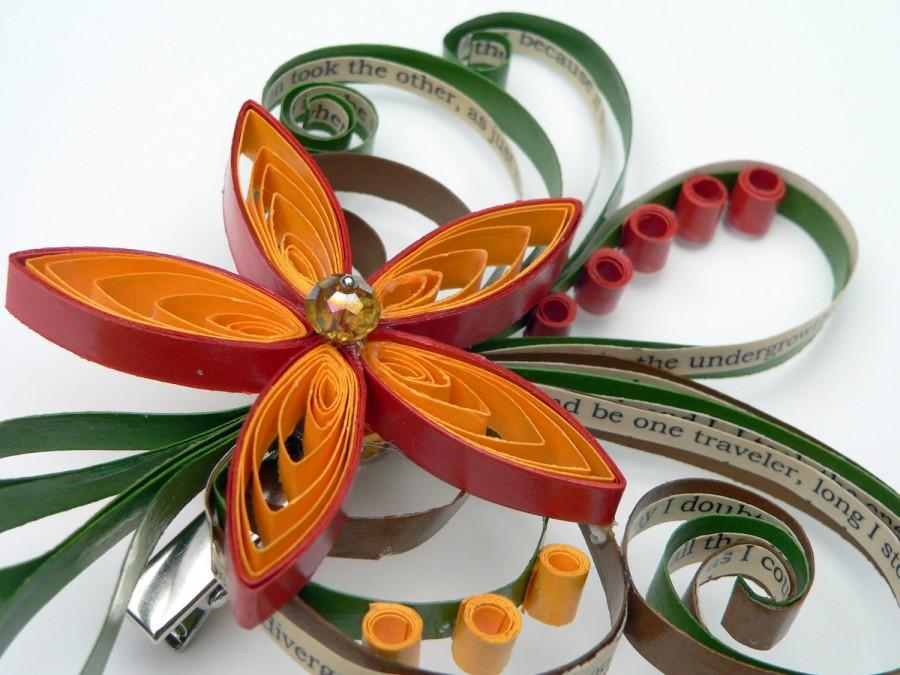 Mariage - Robert Frost The Road Not Taken Hair Clip, The Road Less Traveled By, Fall Wedding Hair Accessory, Autumn Wedding