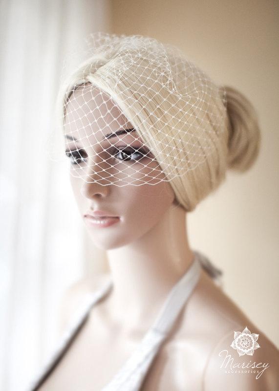 Mariage - Mini Bridal Birdcage Veil, Ivory, Small birdcage Veil, Blusher Veil White, Birdcage Veil - June mini
