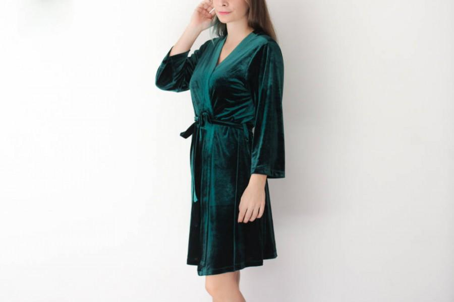 Mariage - Bridesmaid Robes, Velvet Robes, Floral Robe, Bridesmaid gift, Green Robe, Bridal Robe, Kimono Robe, Bride Robe, Bridesmaid Robe Set