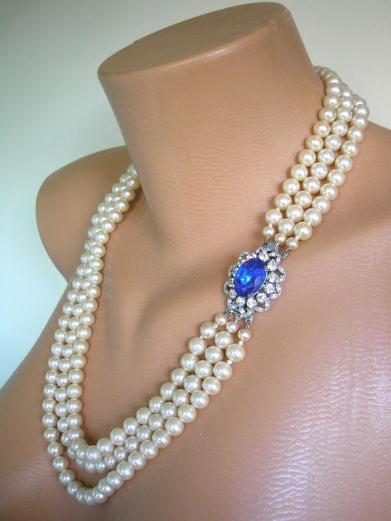 Свадьба - Pearl And Sapphire Necklace, Vintage Pearls, Great Gatsby Jewelry, Art Deco, Bridal Jewelry, Wedding Necklace, Bridal Pearls, Downton Abbey