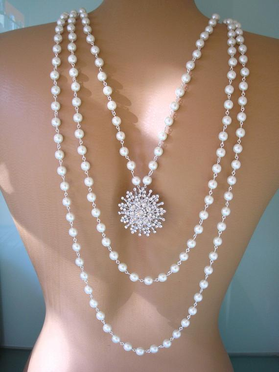 Hochzeit - Pearl Backdrop Necklace, Bridal Backdrop Necklace, Wedding Jewelry, Multistrand Pearl Necklace, Rhinestone And Pearl Jewelry, Art Deco