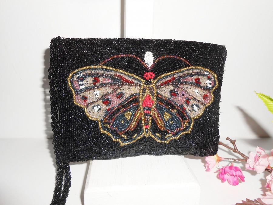 Mariage - Vintage Black Bead Evening Bag, Glam Butterfly Design Bead Clutch Bag EB-0165