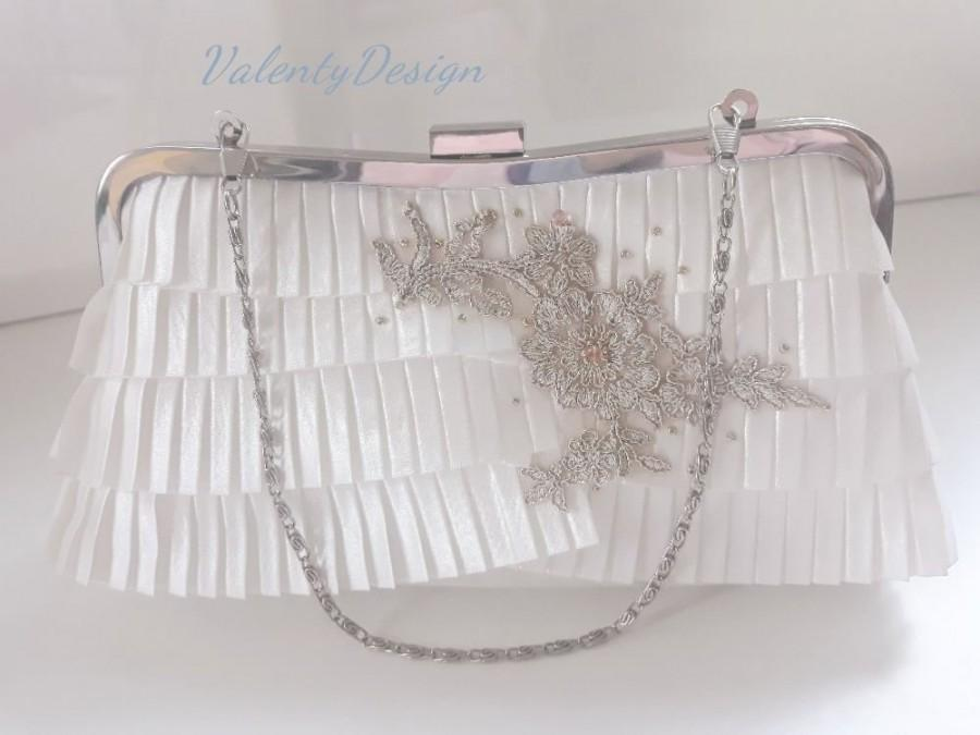 Mariage - Clutch wedding, bridal handbag, clutch with golden lace, bridal bag white with lace application