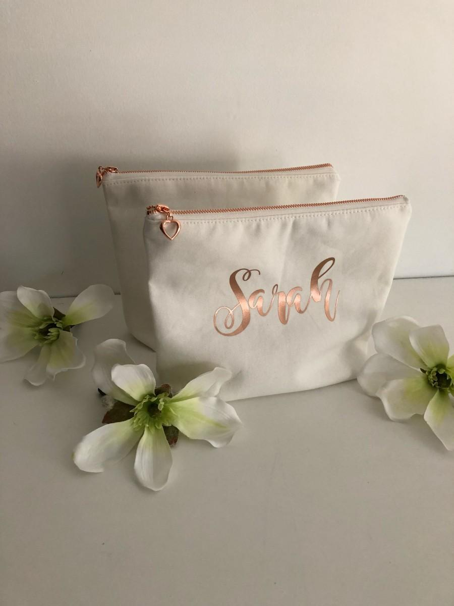 Mariage - Personalized Cosmetic Bag , Bridesmaid Cosmetic Pouch , Cosmetic Bag , Bridesmaid Gift , MakeUp Bag , Custom Name Pouch, Rose Gold