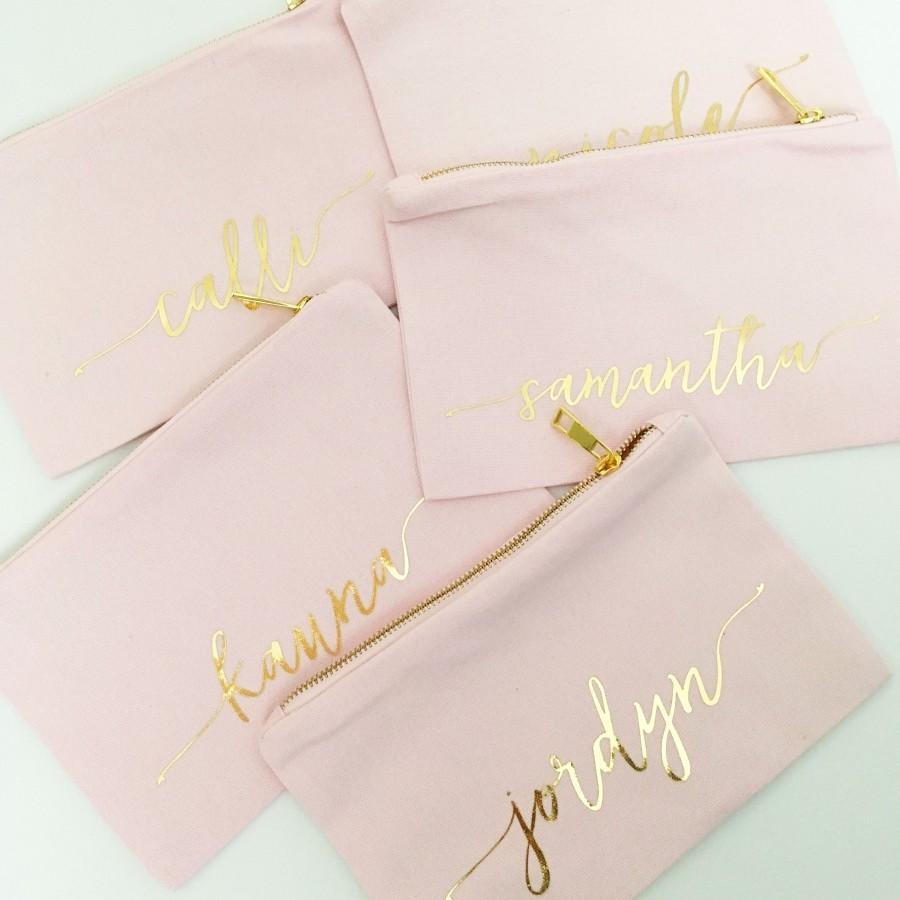 زفاف - Bridesmaid Makeup Bag, Personalized Mrs Makeup Bag, Bridesmaid Gift, Personalized Pouch, Blush and Gold Canvas Bag, MANY COLORS