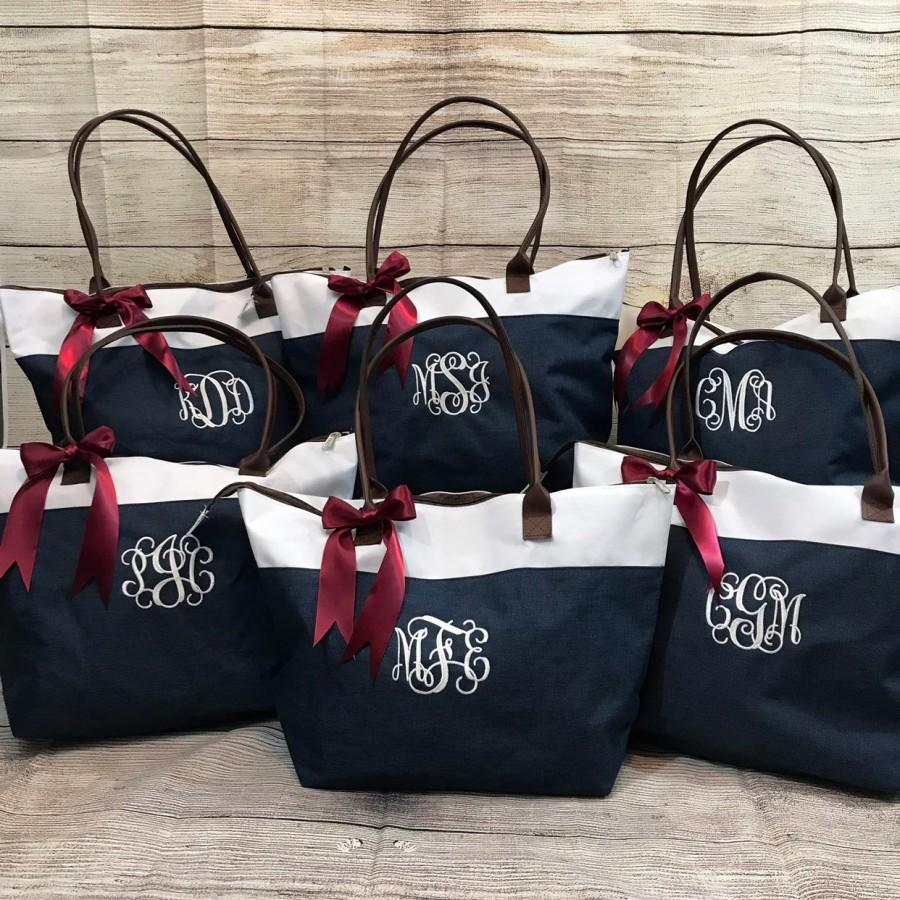 Mariage - Personalized or Monogrammed Tote Bag for Bridesmaids, Teachers, Sororities! Embroidered or Vinyl, your choice!