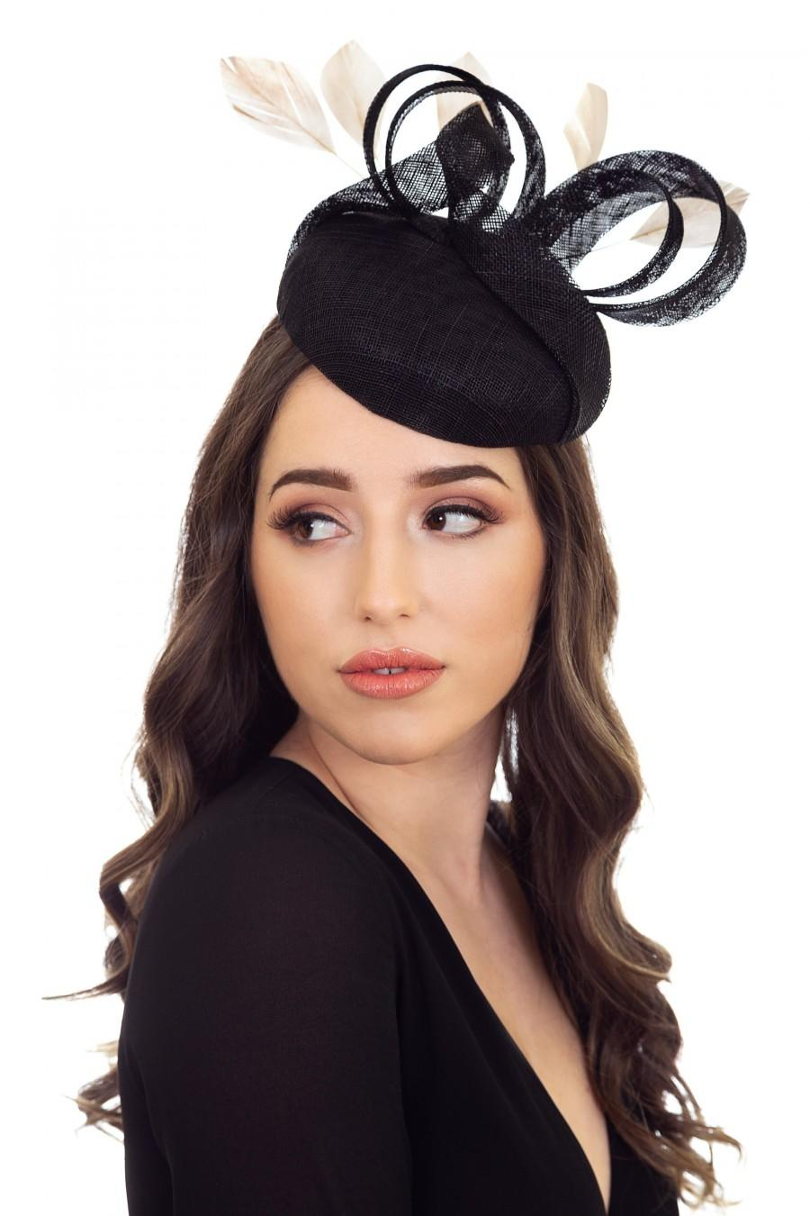 Wedding - Black & Gold Hat, Black and Gold Fascinator, Black and Gold Millinery, Custom Hat, Racing Hat, Hat for Women, Wedding Hat - ABRIL