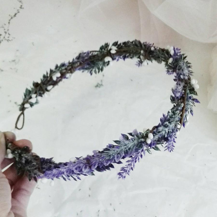 Hochzeit - Flower Crown, Boho Wedding, Lavender hair crown, Floral Crown, Flower Head Piece, Flower Hair Accessory, Wedding Crown, Lavender Crown