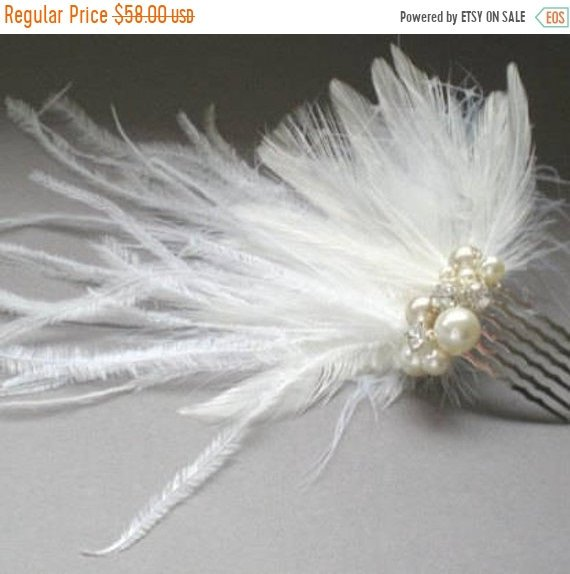 Wedding - ON SALE Bridal Ostrich Feather Comb. Perfect for Birdcage Bridal Veil. Fascinator. Chic Prom. Bridal Bandeau Veil Accent.  Blusher Bridal Ve