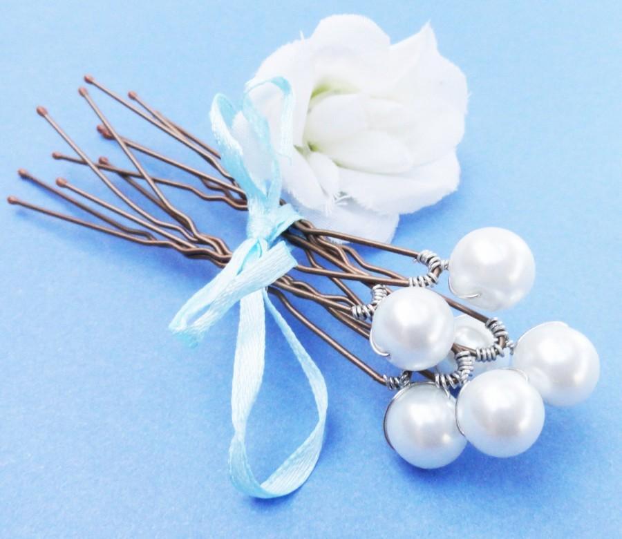 Hochzeit - Pearl Bridal Hairpins,  Swarovski White Pearls - SET OF 6 - For Brides, Bridesmaids or Flowergirls