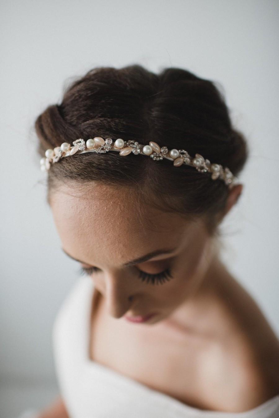 زفاف - Rose Gold Pearl Bridal Headband