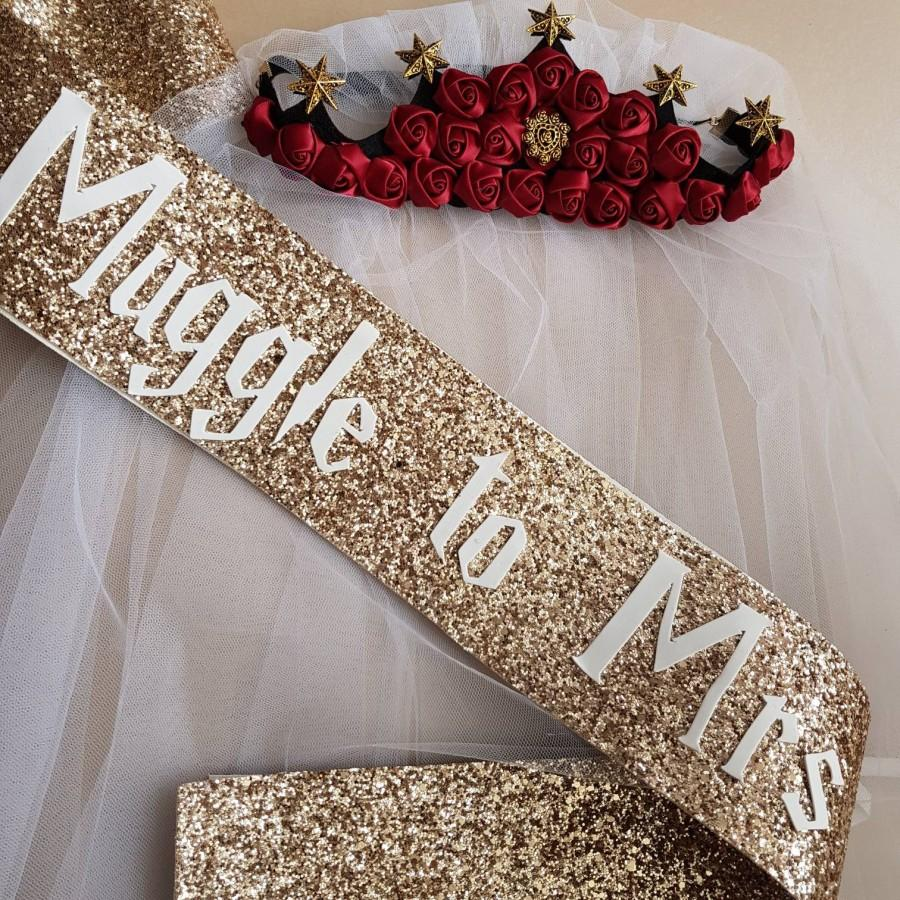 Hochzeit - Muggle to Mrs gold glitter sash and veil set - Harry Potter theme hen party- Bride to be Bridal Shower sash Theme - Hen Party - Bachelorette