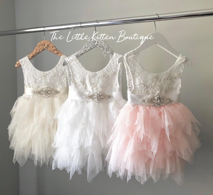 Mariage - Flower Girl Dress, Tulle Flower Girl Dress, Ivory Flower Girl,  Lace wedding dress, Blush Flower girl dress, Princess Dress, Rustic Wedding