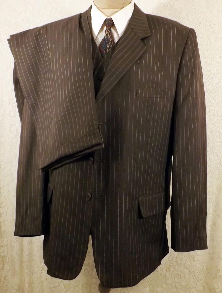 Wedding - 80's Vintage Italian 3 Button Gray Pin Stripe 3 pc Suit Size 46