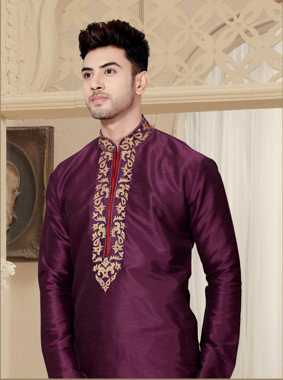 Свадьба - Traditional Fancy dark purple Man's Kurta Pajama in plus size, Embroidery Work, Anniversary, party Kurta, wedding kurta pajama