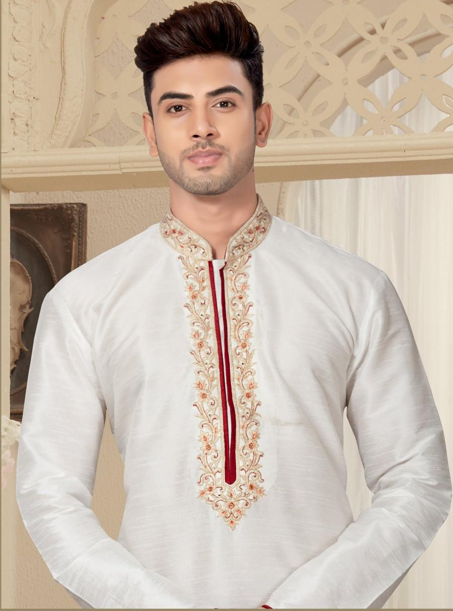 Wedding - Traditional Fancy White Man's Kurta Pajama in plus size, Embroidery Work, Anniversary, party, wedding