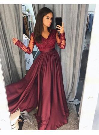 Hochzeit - Weinrot Abendkleider Lang Günstig Spitze Abendmoden Mit Ärmel Modellnummer: LU01 BA7496