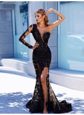 Mit spitze abendkleid schwarzes Elegantes schwarzes