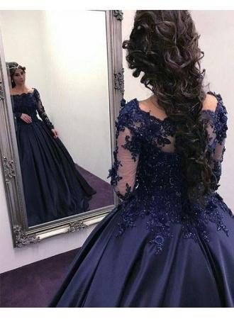 3d20d62ec478f3 Elegante Navy Blau Abendkleider Lang Günstig Mit Ärmel Prinzessin Spitze  Abendmoden Modellnummer: LU17-BA9316