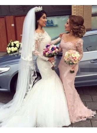 Mariage - Rosa Brautjungfernkleider Lang Ärmel Spitze Meerjungfrau Kleider Für Brautjungfern Modellnummer: AH-087 BA6203