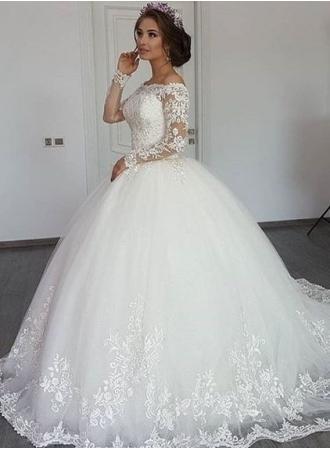 elegante weiße brautkleider mit Ärmel prinzessin hochzeitskleider spitze günstig modellnummer