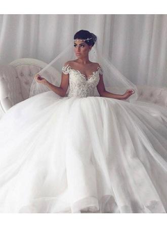 Elegant Weisse Hochzeitskleider Mit Spitze Prinzessin Tull